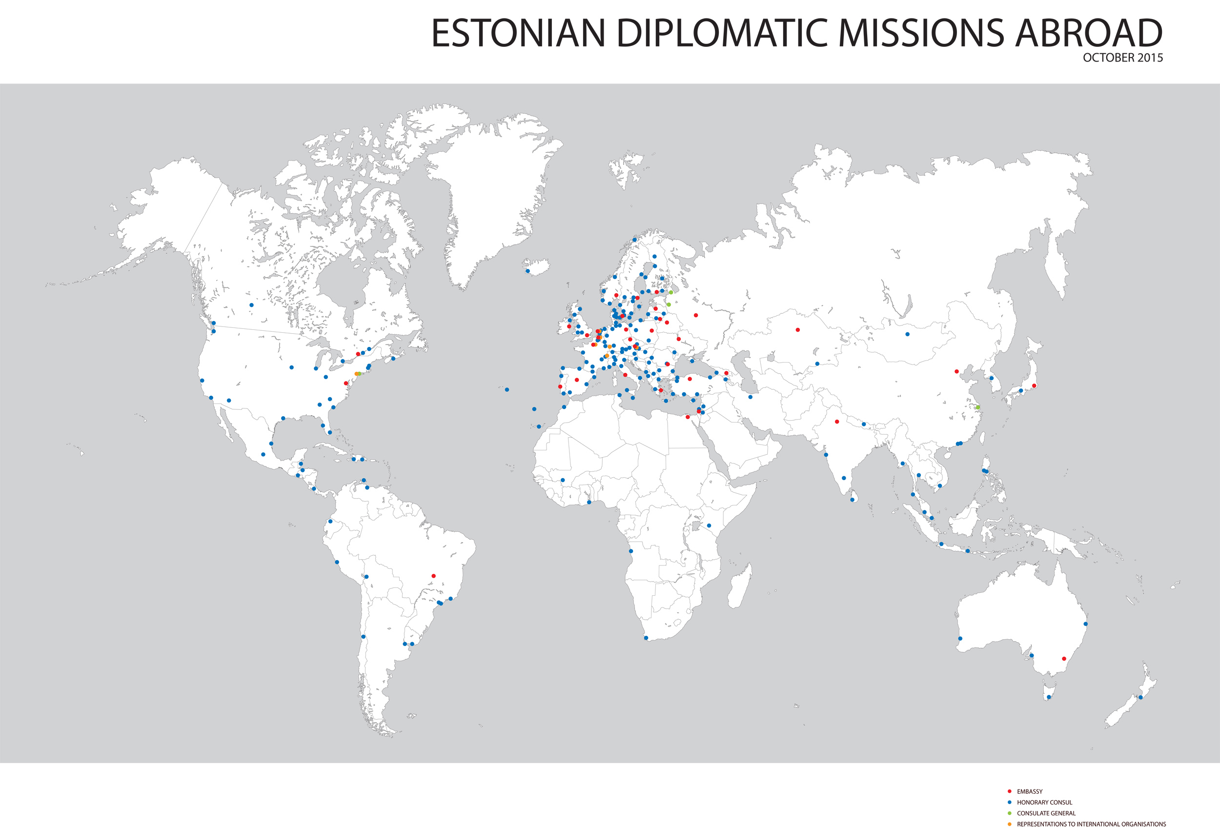Embassies and representations ministry of foreign affairs a map of estonian representations abroad gumiabroncs Gallery