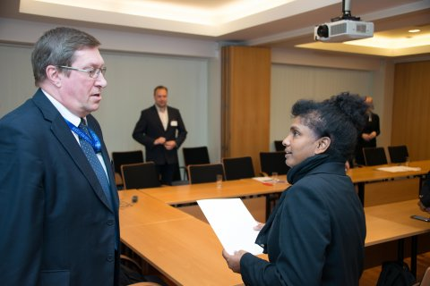 Undersecretary for Economic and Development Affairs Andres Rundu and Lanka Dorby, COMESA's Director for Information Technology