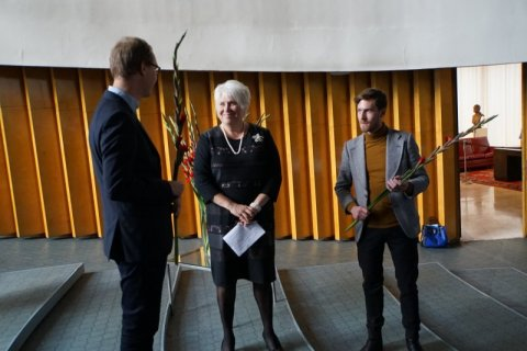 Minister Kaljurand with the winning artists Mihkel Masso and Kristjan Feodorov.